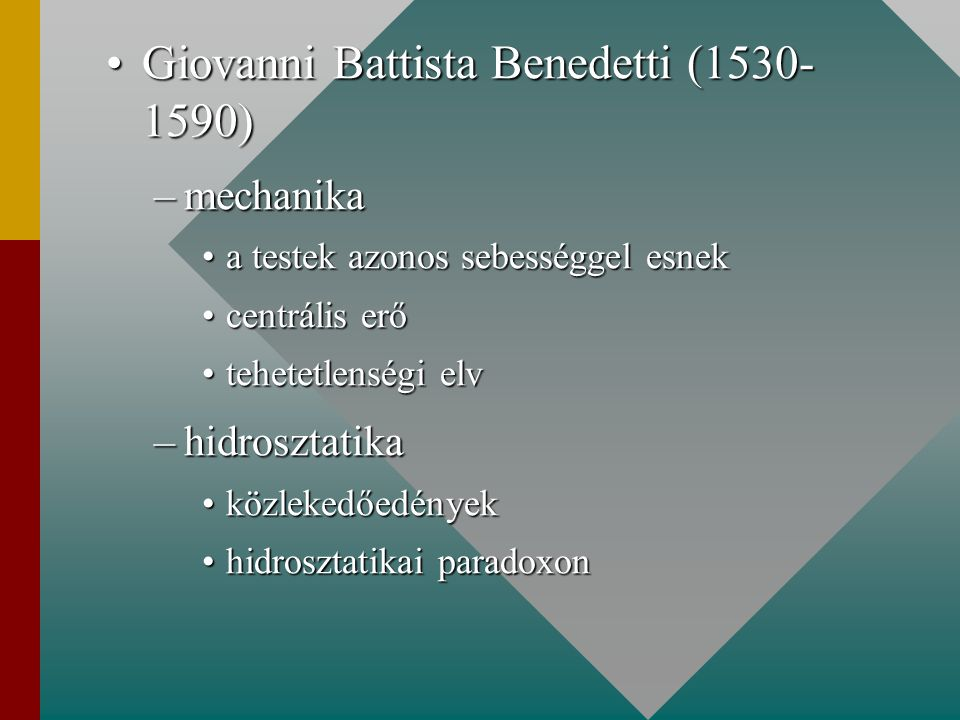 Giovanni Battista Benedetti (1530- 1590)