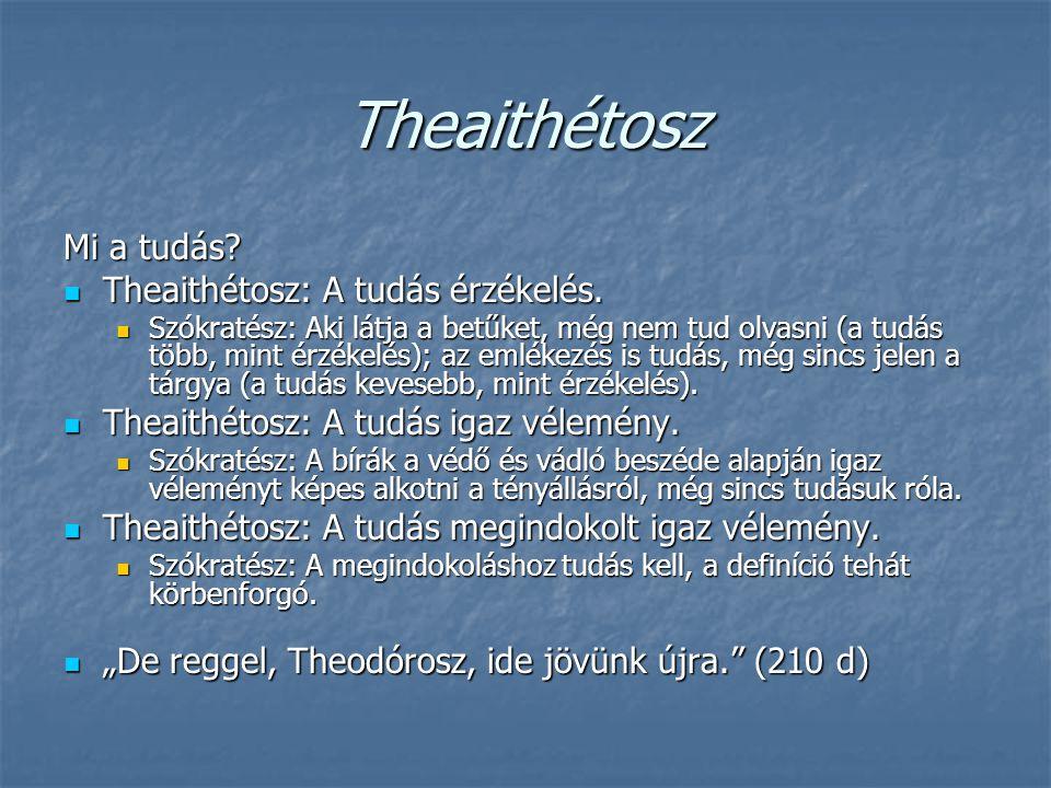 Theaithétosz Mi a tudás Theaithétosz: A tudás érzékelés.