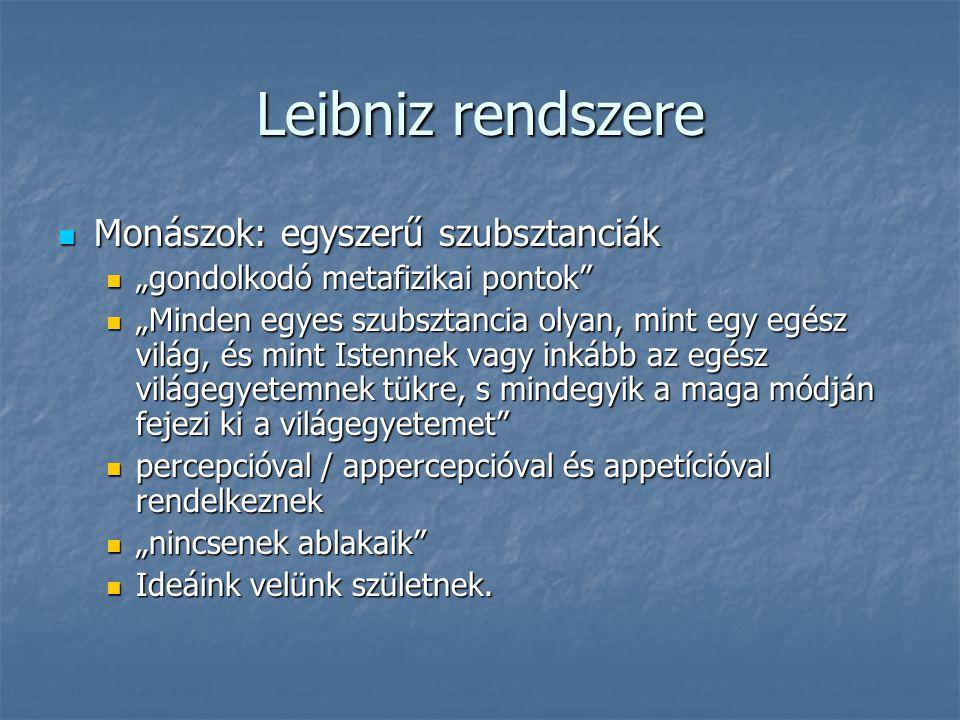 Leibniz rendszere Monászok: egyszerű szubsztanciák