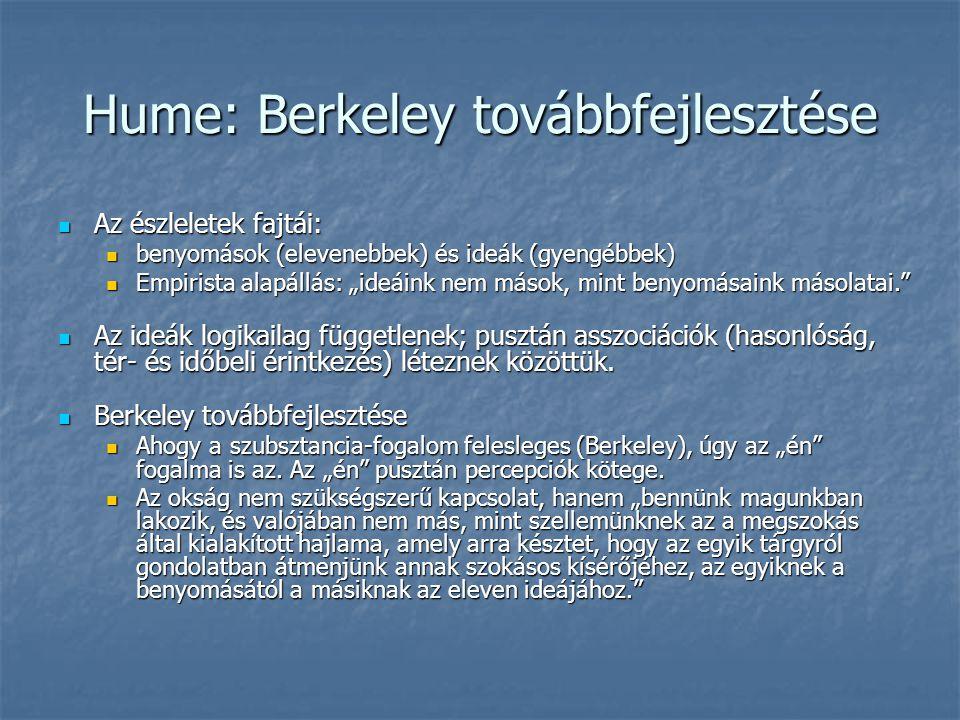 Hume: Berkeley továbbfejlesztése