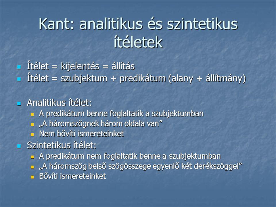 Kant: analitikus és szintetikus ítéletek