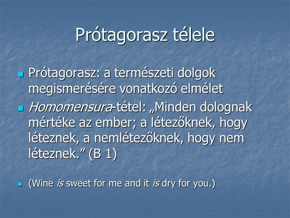 Prótagorasz télele Prótagorasz: a természeti dolgok megismerésére vonatkozó elmélet.