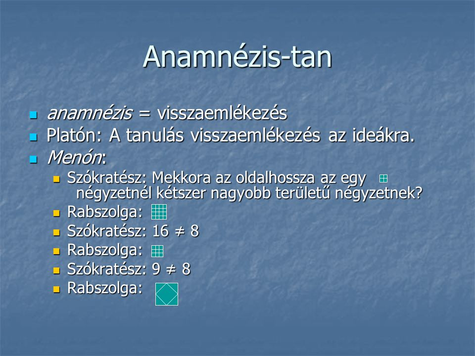 Anamnézis-tan anamnézis = visszaemlékezés