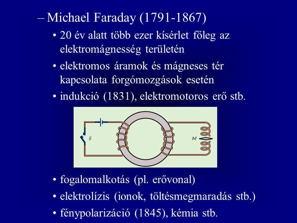 Michael Faraday (1791-1867) 20 év alatt több ezer kísérlet főleg az elektromágnesség területén.