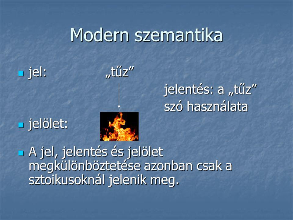"""Modern szemantika jel: """"tűz jelentés: a """"tűz szó használata jelölet:"""