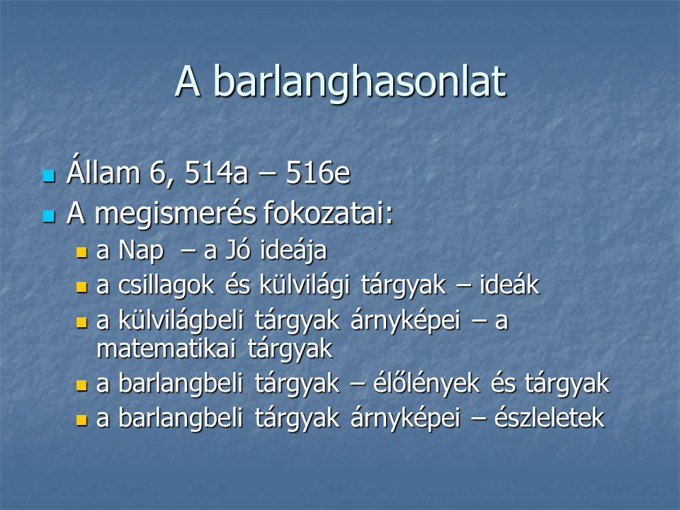 A barlanghasonlat Állam 6, 514a – 516e A megismerés fokozatai: