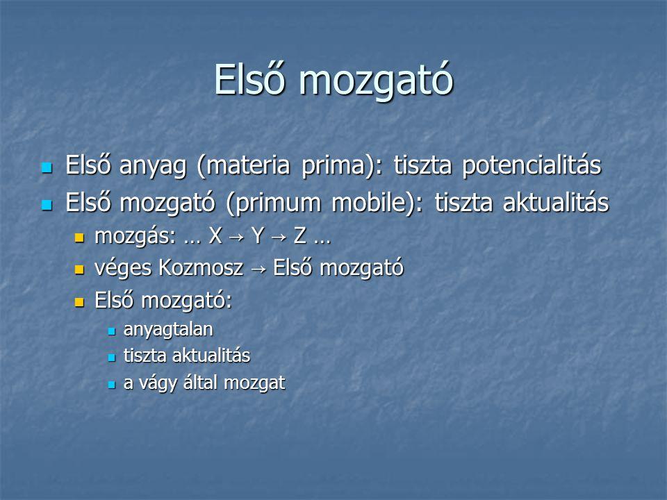 Első mozgató Első anyag (materia prima): tiszta potencialitás