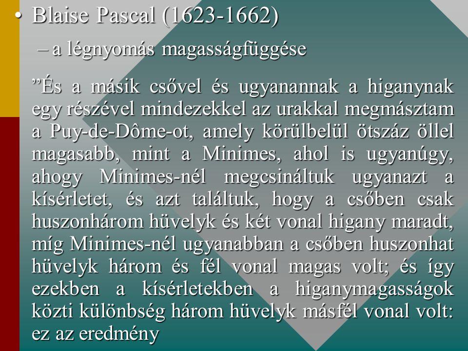 Blaise Pascal (1623-1662) a légnyomás magasságfüggése