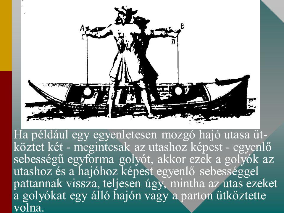 Ha például egy egyenletesen mozgó hajó utasa üt- köztet két - megintcsak az utashoz képest - egyenlő sebességű egyforma golyót, akkor ezek a golyók az utashoz és a hajóhoz képest egyenlő sebességgel pattannak vissza, teljesen úgy, mintha az utas ezeket a golyókat egy álló hajón vagy a parton ütköztette volna.