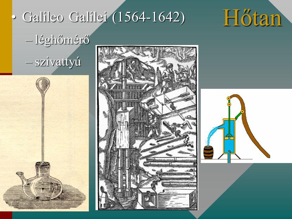Galileo Galilei (1564-1642) léghőmérő szivattyú Hőtan