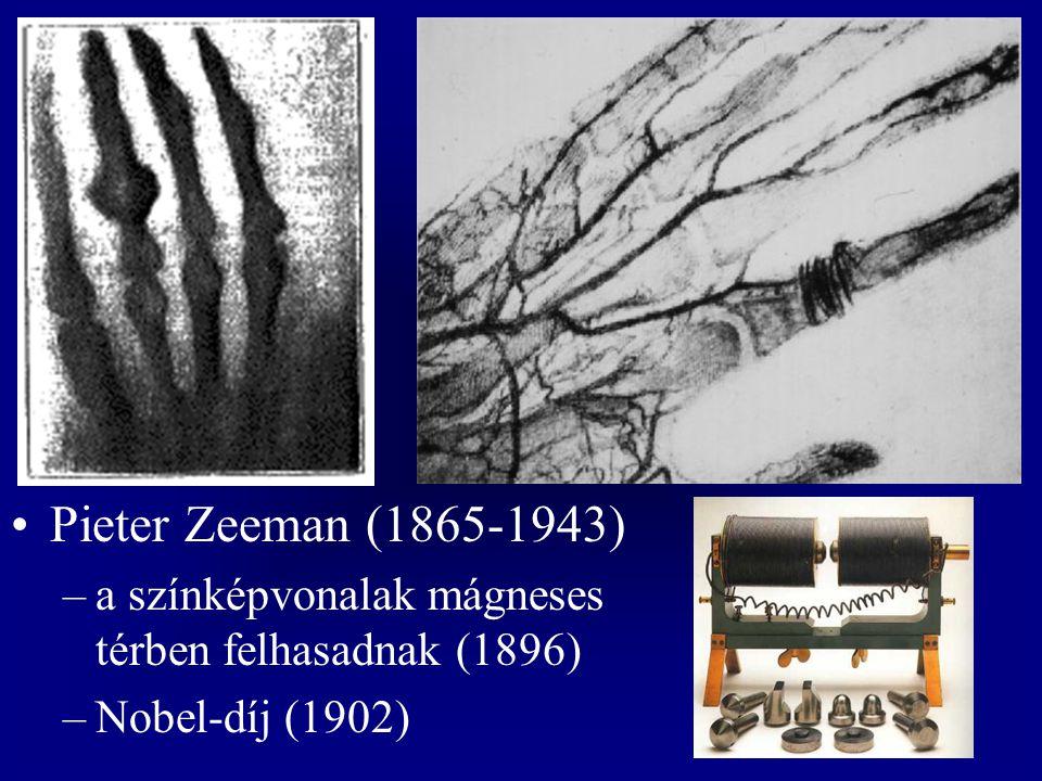 Pieter Zeeman (1865-1943) a színképvonalak mágneses térben felhasadnak (1896) Nobel-díj (1902)