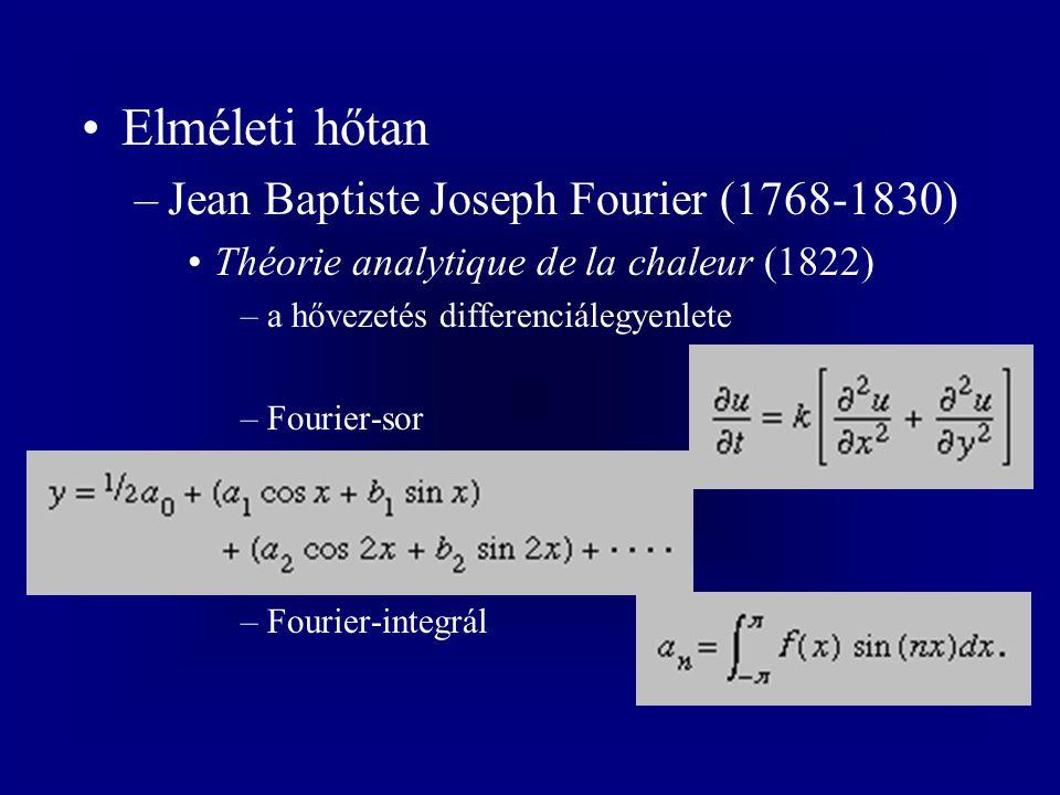 Elméleti hőtan Jean Baptiste Joseph Fourier (1768-1830)