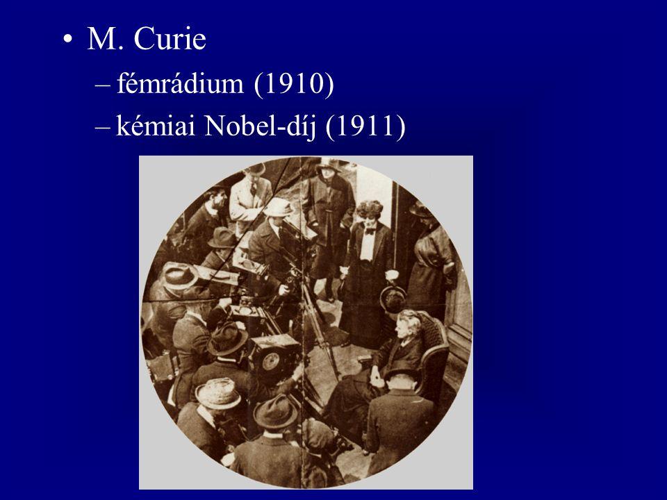 M. Curie fémrádium (1910) kémiai Nobel-díj (1911)