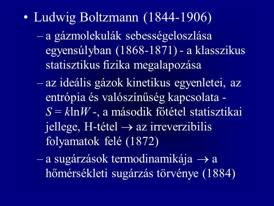 Ludwig Boltzmann (1844-1906) a gázmolekulák sebességeloszlása egyensúlyban (1868-1871) - a klasszikus statisztikus fizika megalapozása.