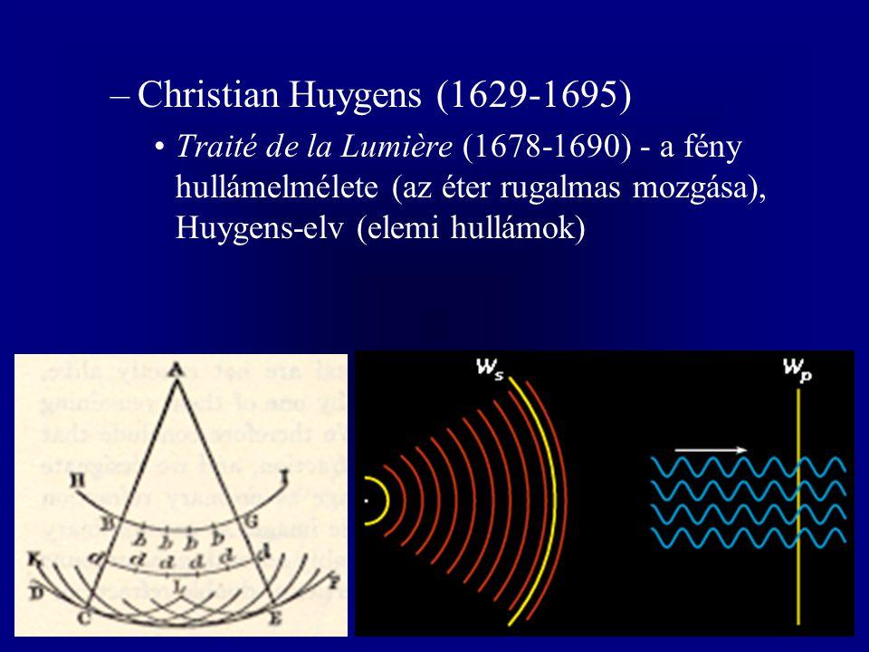 Christian Huygens (1629-1695) Traité de la Lumière (1678-1690) - a fény hullámelmélete (az éter rugalmas mozgása), Huygens-elv (elemi hullámok)