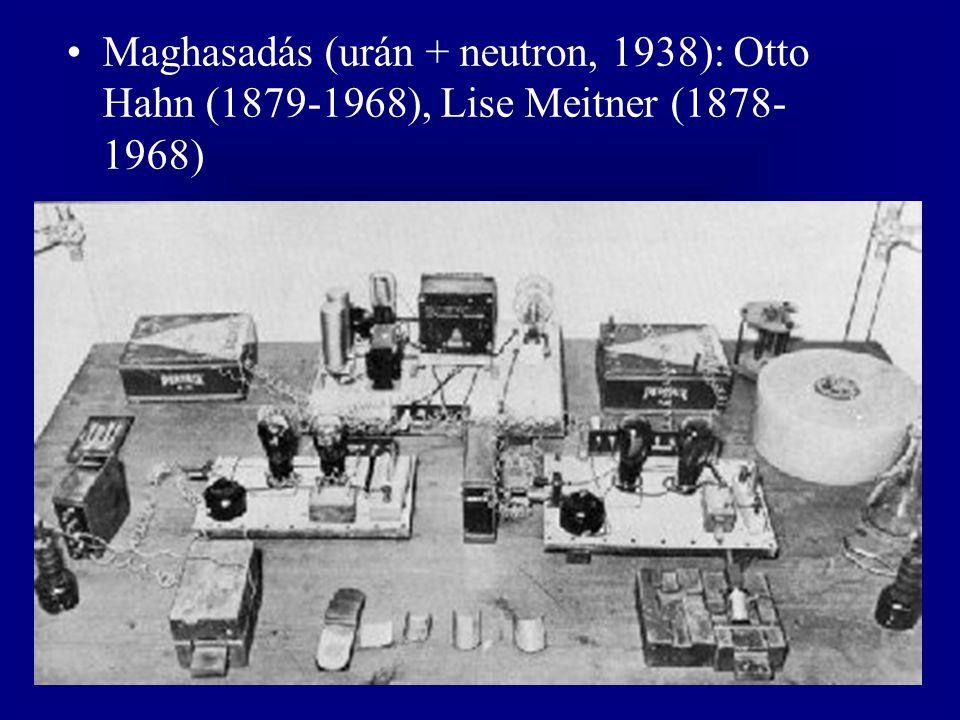 Maghasadás (urán + neutron, 1938): Otto Hahn (1879-1968), Lise Meitner (1878-1968)