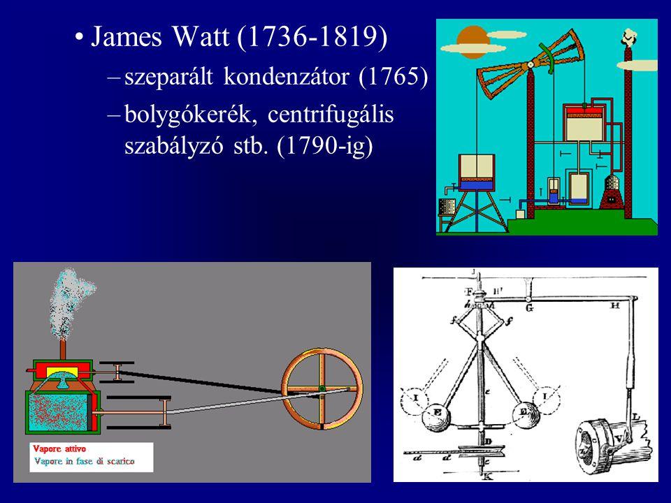 James Watt (1736-1819) szeparált kondenzátor (1765)