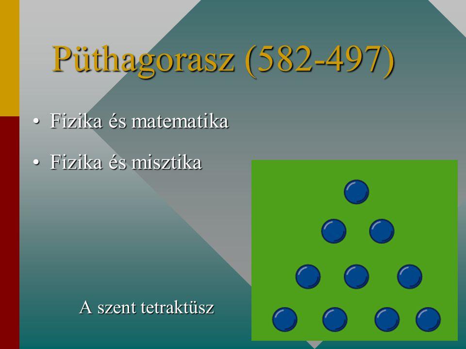 Püthagorasz (582-497) Fizika és matematika Fizika és misztika