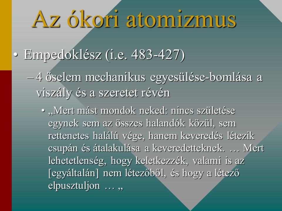 Az ókori atomizmus Empedoklész (i.e. 483-427)