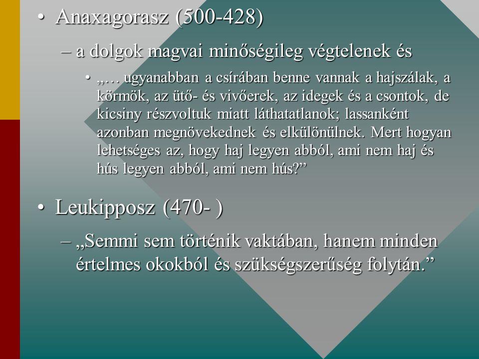 Anaxagorasz (500-428) Leukipposz (470- )