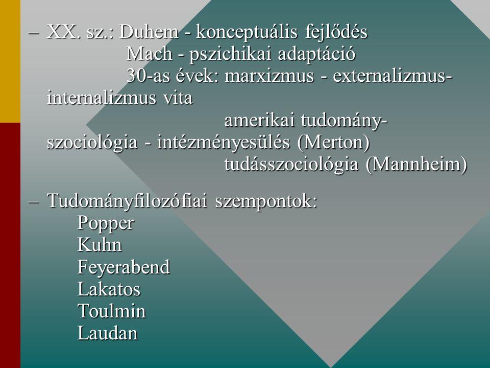 XX. sz. : Duhem - konceptuális fejlődés. Mach - pszichikai adaptáció