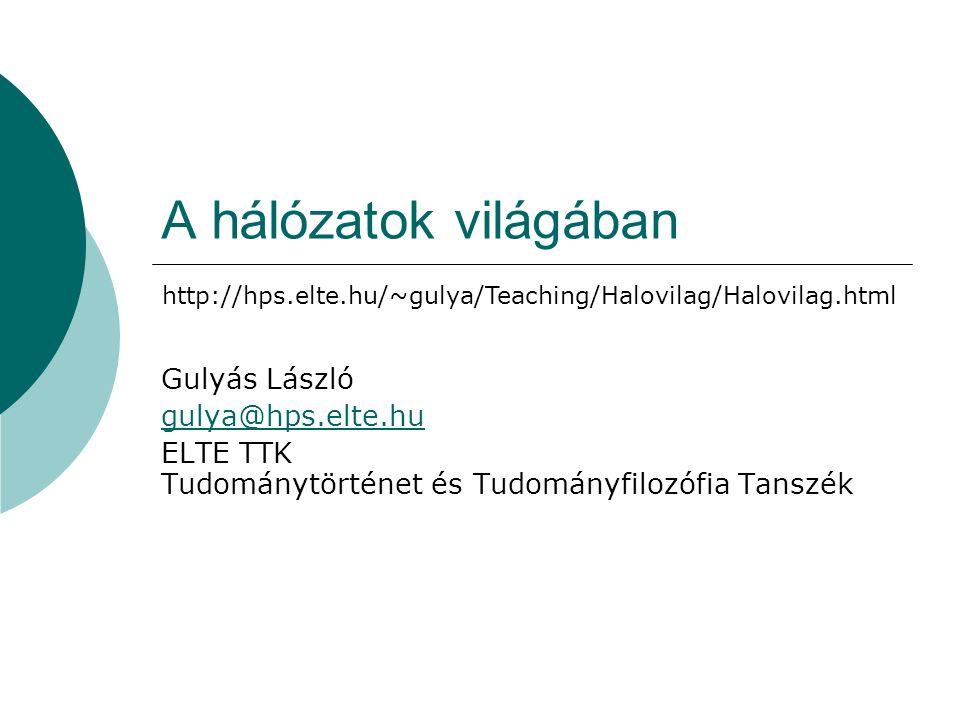 A hálózatok világában Gulyás László gulya@hps.elte.hu