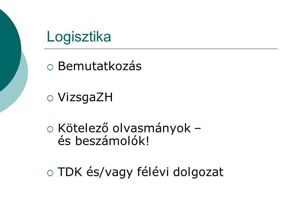 Logisztika Bemutatkozás VizsgaZH Kötelező olvasmányok – és beszámolók!