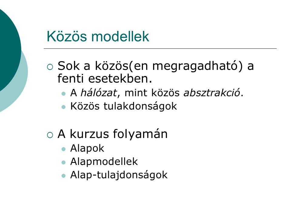 Közös modellek Sok a közös(en megragadható) a fenti esetekben.