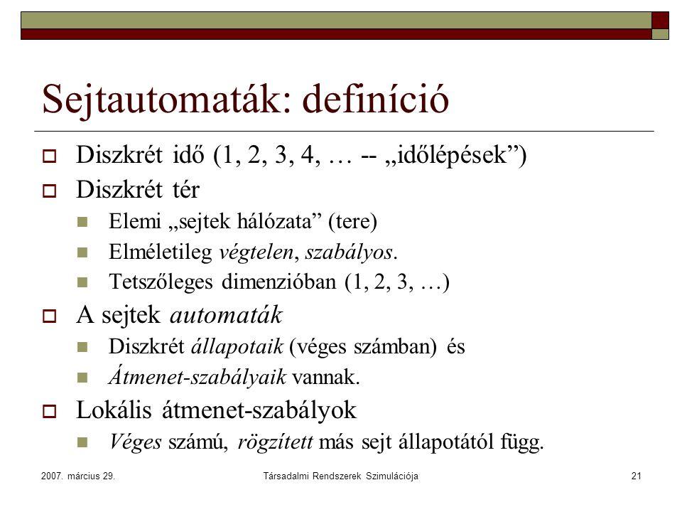 Sejtautomaták: definíció