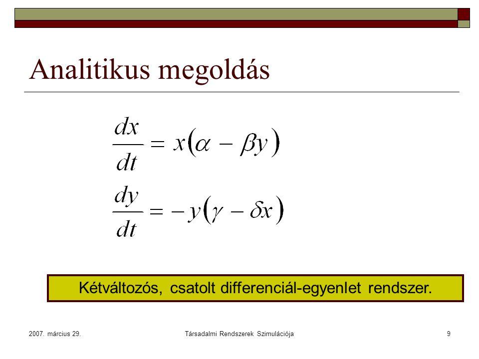 Analitikus megoldás Kétváltozós, csatolt differenciál-egyenlet rendszer.