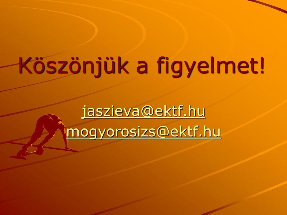Köszönjük a figyelmet! jaszieva@ektf.hu mogyorosizs@ektf.hu