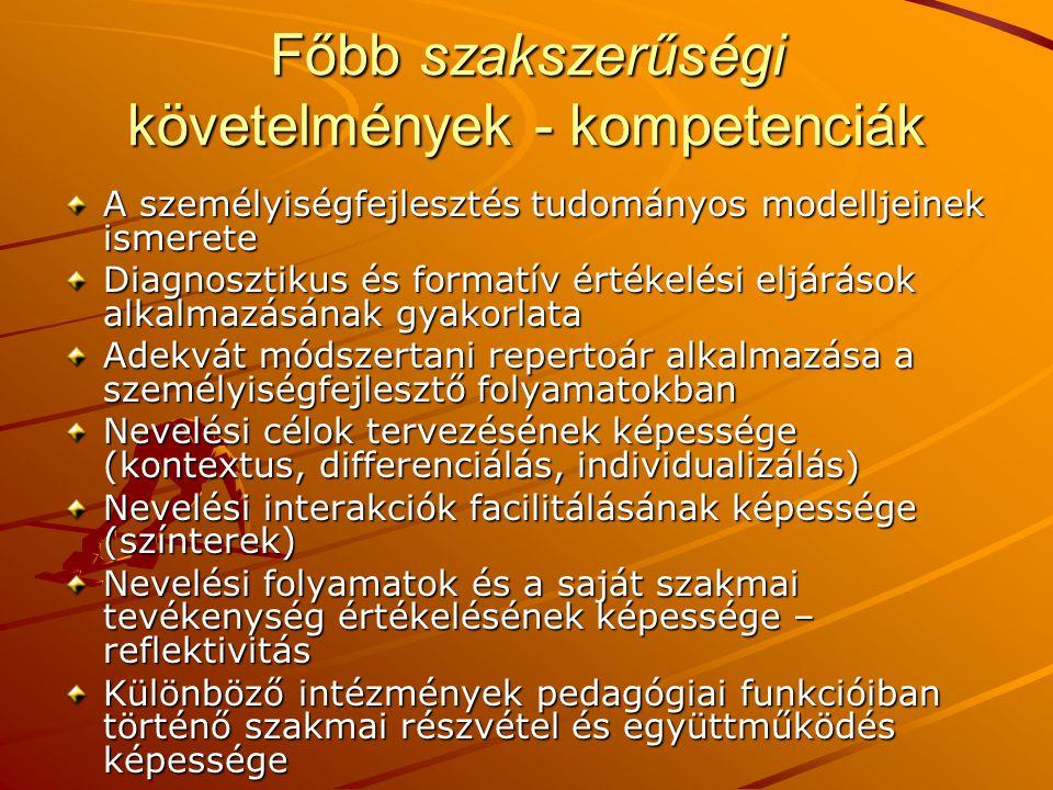Főbb szakszerűségi követelmények - kompetenciák
