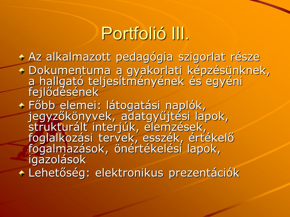 Portfolió III. Az alkalmazott pedagógia szigorlat része