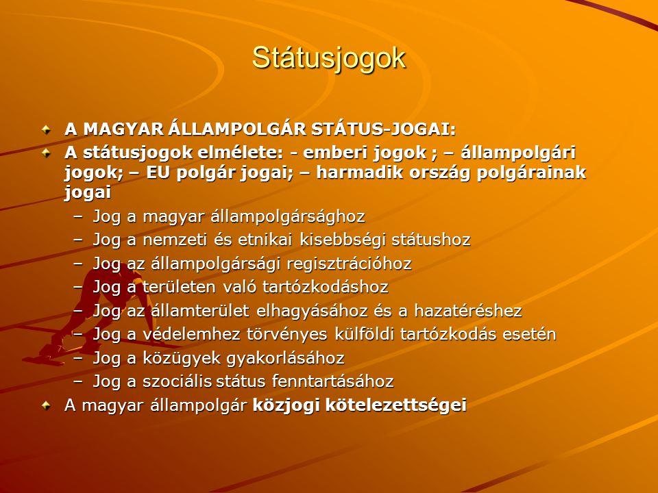 Státusjogok A MAGYAR ÁLLAMPOLGÁR STÁTUS-JOGAI: