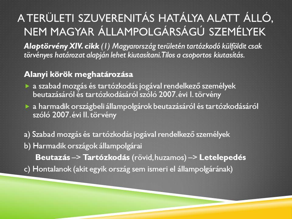 a területi szuverenitás hatálya alatt álló, nem magyar állampolgárságú személyek
