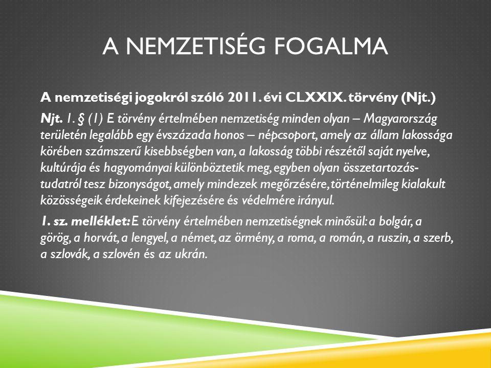 A Nemzetiség fogalma A nemzetiségi jogokról szóló 2011. évi CLXXIX. törvény (Njt.)