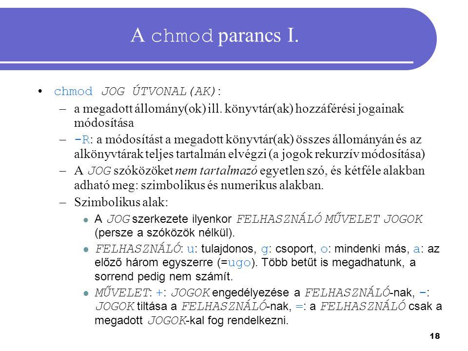 A chmod parancs I. chmod JOG ÚTVONAL(AK):