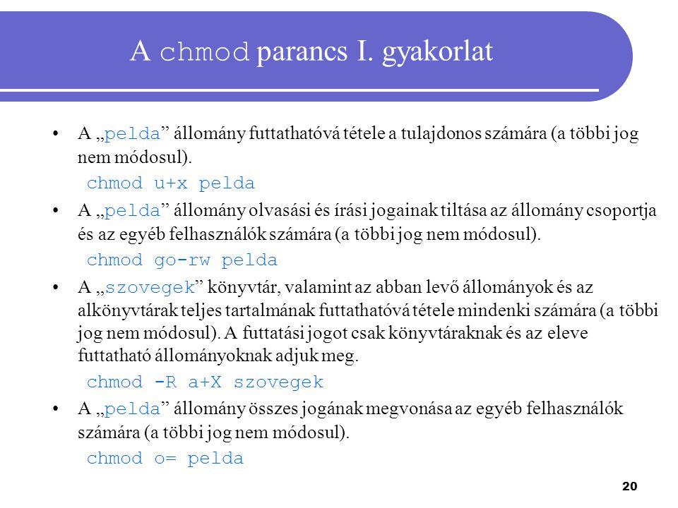 A chmod parancs I. gyakorlat