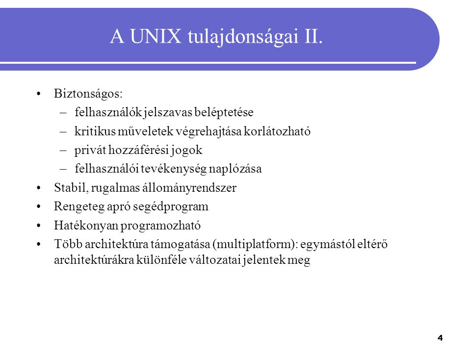 A UNIX tulajdonságai II.