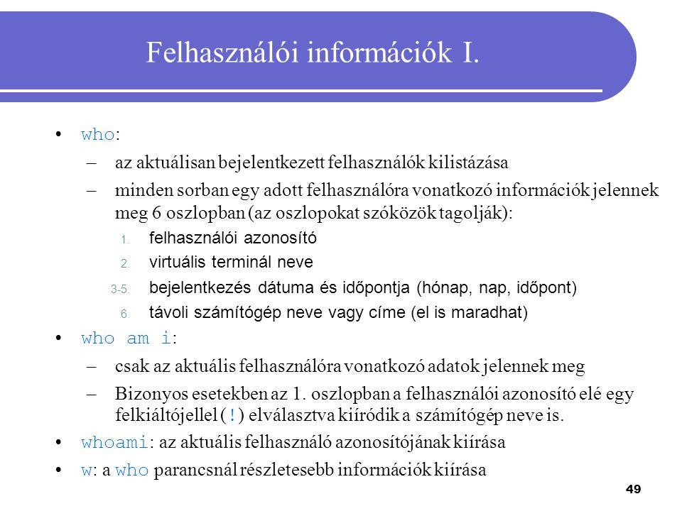 Felhasználói információk I.