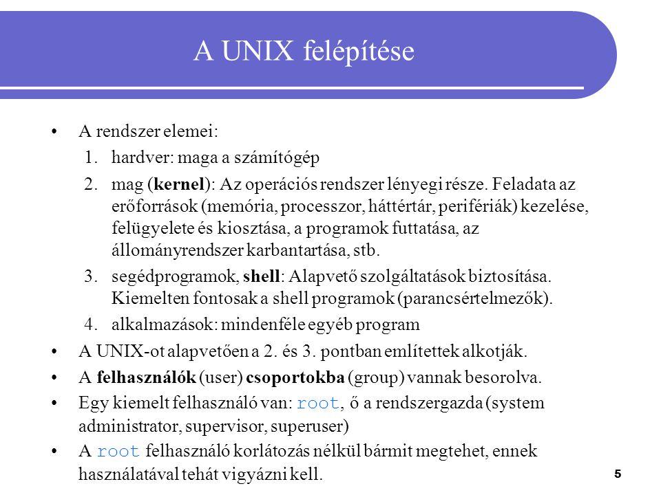 A UNIX felépítése A rendszer elemei: hardver: maga a számítógép