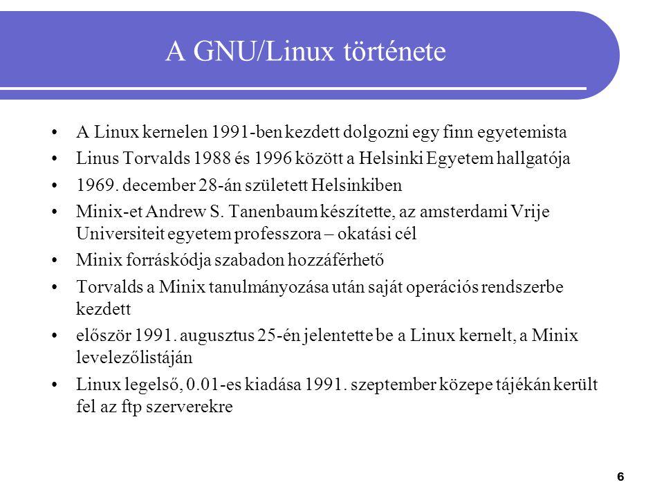 A GNU/Linux története A Linux kernelen 1991-ben kezdett dolgozni egy finn egyetemista.