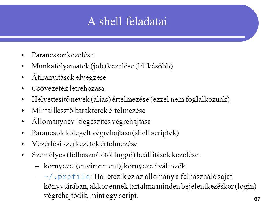 A shell feladatai Parancssor kezelése