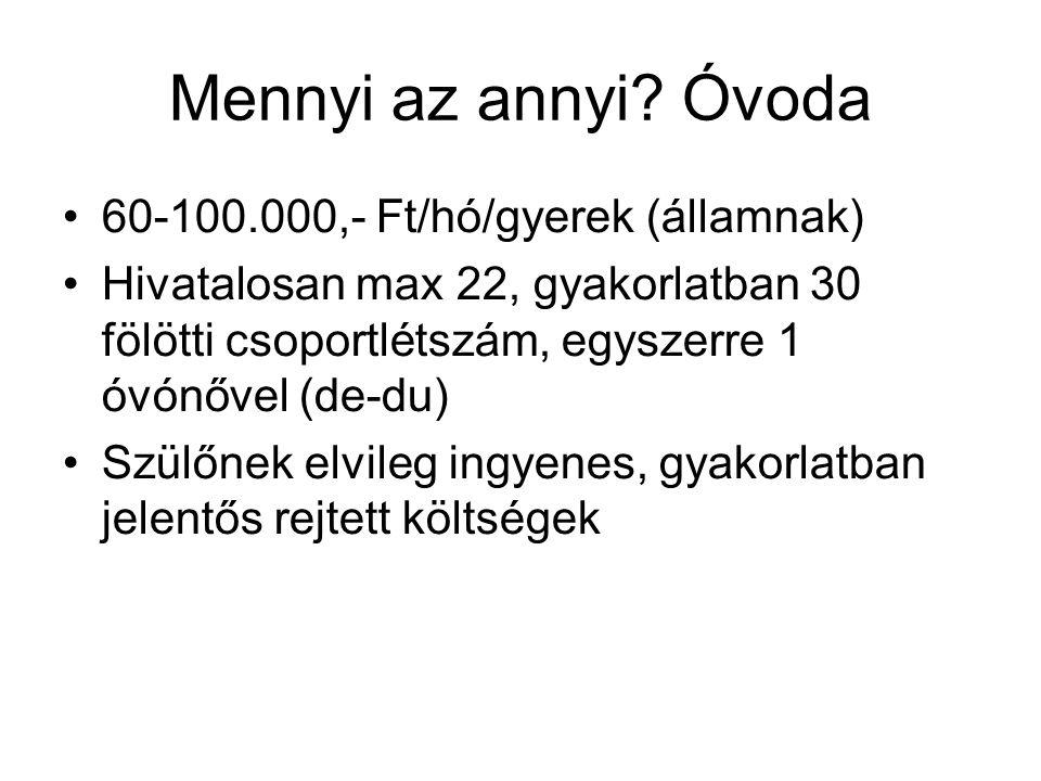 Mennyi az annyi Óvoda 60-100.000,- Ft/hó/gyerek (államnak)