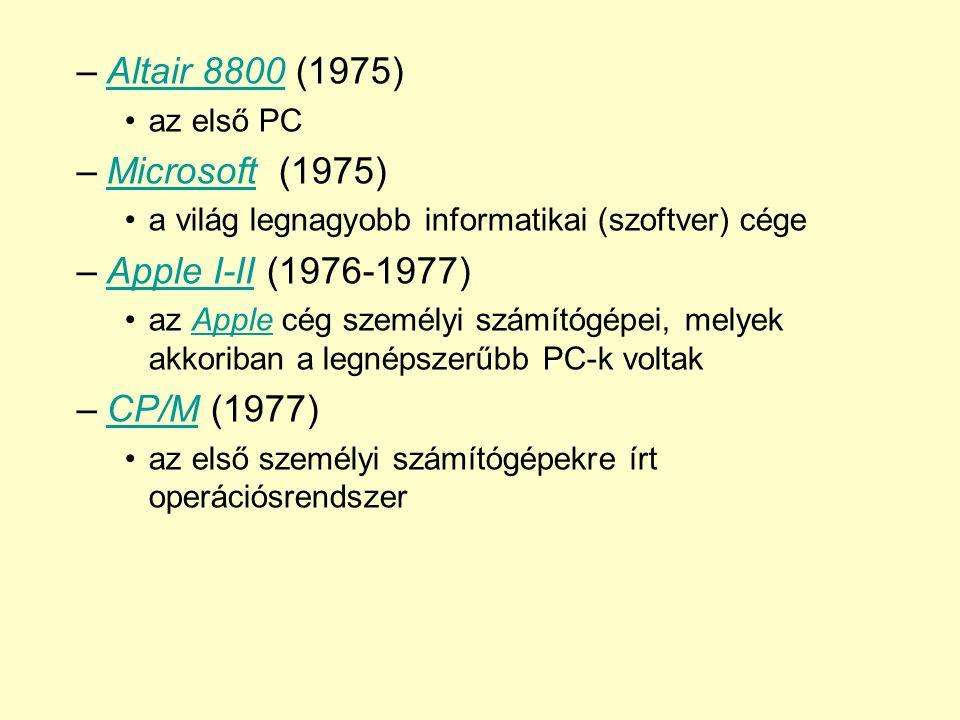 Altair 8800 (1975) Microsoft (1975) Apple I-II (1976-1977) CP/M (1977)