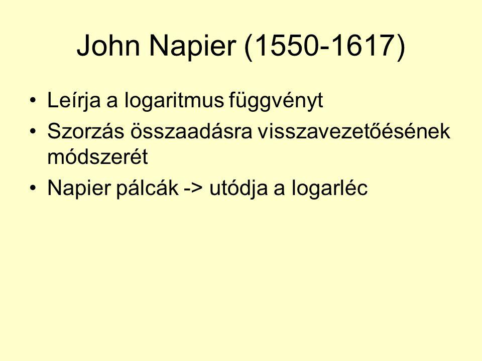 John Napier (1550-1617) Leírja a logaritmus függvényt