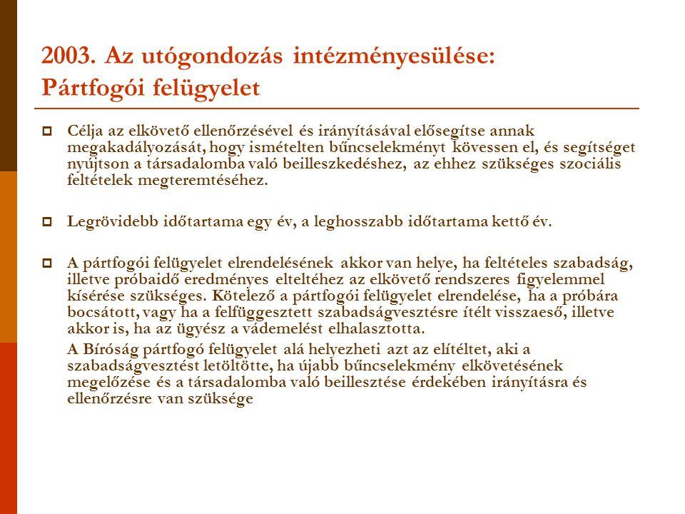 2003. Az utógondozás intézményesülése: Pártfogói felügyelet