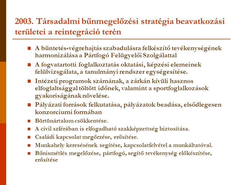 2003. Társadalmi bűnmegelőzési stratégia beavatkozási területei a reintegráció terén
