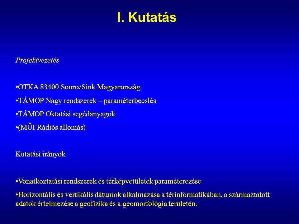 I. Kutatás Projektvezetés OTKA 83400 SourceSink Magyarország