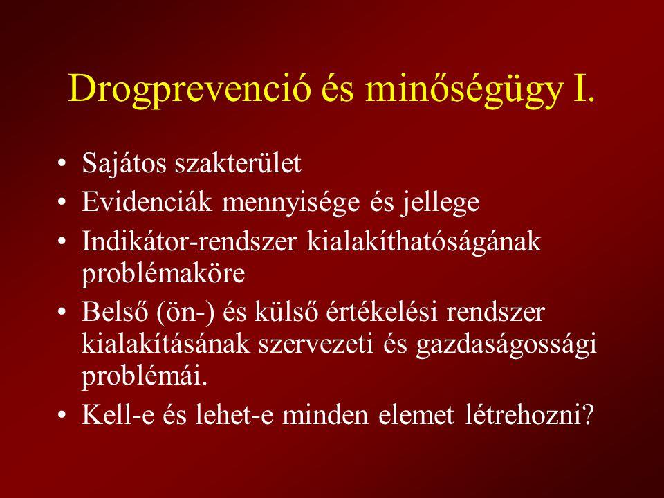 Drogprevenció és minőségügy I.
